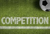 stock photo of competition  - Soccer field with the text - JPG