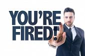 stock photo of fail job  - Business man pointing the text - JPG