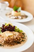 stock photo of veal  - Veal fillet with a creamy souce made of Dorblu cheese cognac and walnuts - JPG