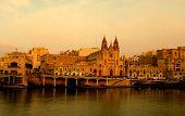 stock photo of maltese  - Cathedral at sunset in Maltese Islands  - JPG