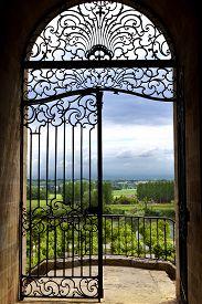 foto of bordeaux  - Wrought iron gate facing countryside near Bordeaux France - JPG