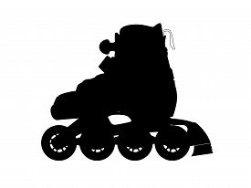 foto of roller-derby  - Extreme Sports Roller Skates of contour on a white - JPG