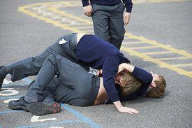 image of playground school  - Two Boys Fighting In School Playground - JPG