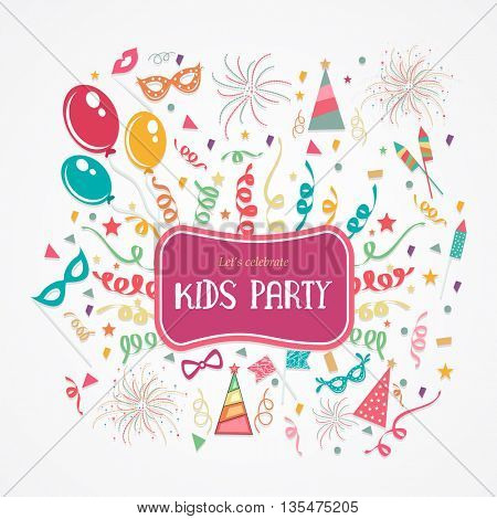 Creative colorful festive Background decorated with balloons, confetti and other elements for Kids P