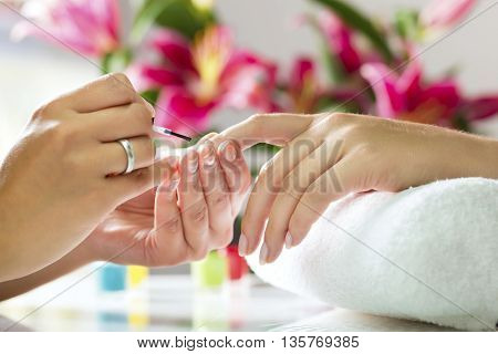 poster of Woman in a nail salon Closeup shot receiving a manicure by a beautician with nail file. Woman getting nail manicure. Beautician file nails to a customer.