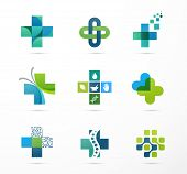 medical, healthcare and pharmacy icons poster