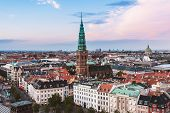 Постер, плакат: Panoramic View Of Evening Copenhagen Roofs