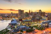 Baltimore, Maryland, USA downtown cityscape at dusk. poster