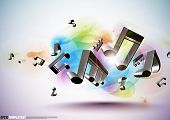 Постер, плакат: Вектор 3D музыкальные ноты