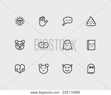 Emoji Icons  Set Of Bubble Emoji, Broken Heart Love, Cartoon Character  Panda Vector Sign Symbols  Ve poster