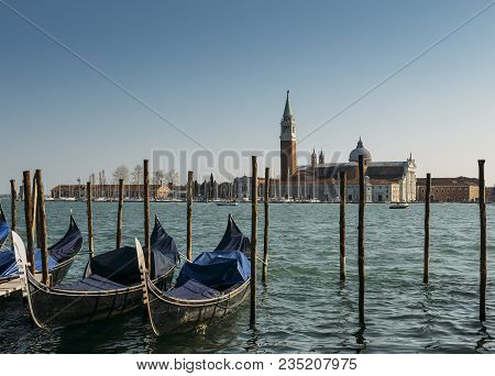 Gondolas Moored By Saint Mark
