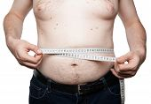 A Man With Abdominal Fat And Measures His Belly poster