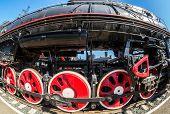 Vintage Steam Locomotive Engine Wheels And Rods Details. Retro Steam Locomotive poster
