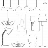 Lamps Of Different Types, Set. Chandeliers, Lamps, Bulbs, Table Lamp, Flashlight, Floor Lamp - Eleme poster