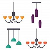Hanging Lamps, Set. Chandeliers, Lamps, Bulbs - Elements Of Modern Interior. Vector Illustration, Is poster