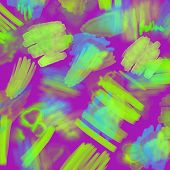 Abstract Neon Geometrical 80s And 90s Hand Draw Glamour Pattern With Neons Colors. Neon Watercolor B poster