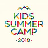 Kids Summer Camp 2018 Banner For Holiday Party, Kids Camping, Fest. Vector Illustration 10 Eps poster