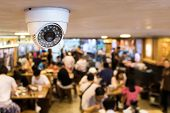 Cctv System Security Inside Of Restaurant.surveillance Camera Installed On Ceiling To Monitor For Pr poster