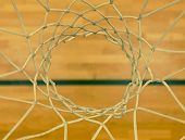View From Up Through  Basketball Hoop, School Sporting Wooden Board At The Bottom  With A Black Line poster