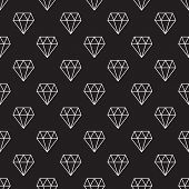 Diamonds Dark Vector Seamless Pattern Or Background Made With White Outline Diamond Icons poster