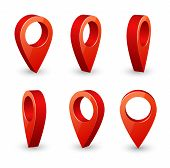 Map Pointer 3d Pin. Location Symbols Vector Set Isolated On White Background. Web Location Point, Po poster