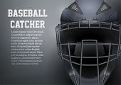Poster Of Catcher Mask Helmet For Baseball And Softball Games. Sport Equipment And Gear. Vector Illu poster