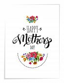 Realistic Greeting Card With Flowers. Template Of Happy Mothers Day Card. Handwritten Lettering Hap poster