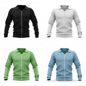 Mens zip neck pullover with raglan sleeves, rubber cuffs and collar. 3d rendering. Front view. poster