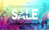 Sale Spring Banner. Trendy Texture. Season Vocation, Weekend, Holiday Logo. Spring Time.  Happy Spri poster