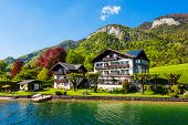 Beauty Houses At Wolfgangsee Lake In Austria. Wolfgangsee Is One Of The Best Known Lakes In The Salz poster