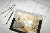 Computer Tablet with Master Bathroom Design Over House Plans, Pencil and Compass. poster