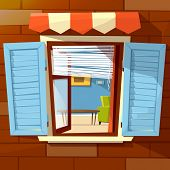 House Facade Open Window Vector Illustration Of Window With Open Wooden Shutters And Room Interior V poster