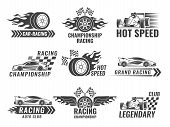 Trophy, Engine, Rally And Others Symbols For Race Sport Labels. Vector Rally Sport Label, Winner Cha poster