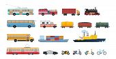Set Of Modern Transport, Cars, Municipal Vehicles For Public Services, Water Vehicle For Transportat poster
