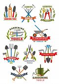 Gardening Tool Badge With Instrument And Equipment For Farming And Garden Work. Shovel, Rake And Whe poster