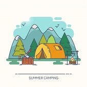 Tent In Wood Or Forest With Mountains. Bivvy And Stump Or Stub With Axe, Kettle On Fire. Tourist Lei poster