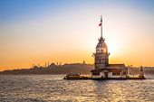 Maiden Tower , Tower Of Leandros, Kiz Kulesi, Tranquil Scenery At The Entrance To Bosporus Strait In poster