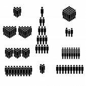 People Icon Set. Crowd Of People In Black. Elements For Infographic Leadership Concept. Vector poster