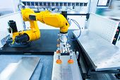 Robotic and Automation system control application on automate robot arm in smart manufacturing backg poster