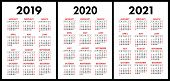 Pocket Calendar 2019, 2020, 2021 Set. Basic Simple Template. Week Starts On Sunday poster