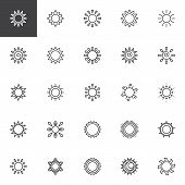 Sun Outline Icons Set. Linear Style Symbols Collection, Line Signs Pack. Vector Graphics. Set Includ poster