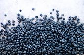Texture Of Blueberry Berries Close Up. Border Design. Fresh Blueberries Background With Copy Space F poster