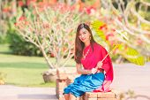 Asian Woman Wearing Traditional Thai Culture,asian Woman Wearing Typical Thai Dress Identity Culture poster