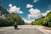 Rider On Motorbike, Motorcycle Bike In Motion On Country Road. Motion On Freeway In Europe. Asphalt  poster