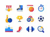 Sport - Set Of Flat Design Style Icons Isolated On White Background. Medals, Skates, Basketball, Tim poster