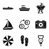 Sea Recreation Icons Set. Simple Set Of 9 Sea Recreation Vector Icons For Web Isolated On White Back poster