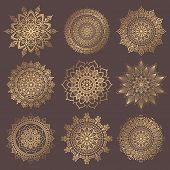 Mandala Vector Design Element. Golden Round Ornaments. Decorative Flower Pattern. Stylized Floral Ch poster