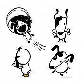 Cute Dog Hold Bone Sticker. Monochrome Puppy Collection Design. Simple Black White Sketch Vector Ill poster