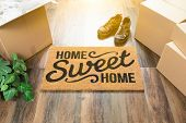 Home Sweet Home Welcome Mat, Moving Boxes, Shoes and Plant on Hard Wood Floors. poster