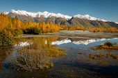 Glenn Hwy, One Of The Most Scenic Routes In Alaska, Autumn Colors Reflection In River, Alaskan Lands poster